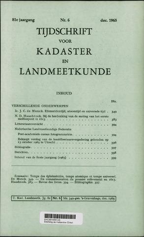 Tijdschrift voor Kadaster en Landmeetkunde (KenL) 1965-12-01