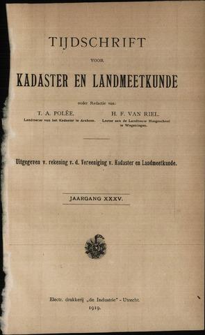 Tijdschrift voor Kadaster en Landmeetkunde (KenL) 1919