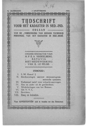 Tijdschrift voor het Kadaster in Ned.-Indië 1923-01-01