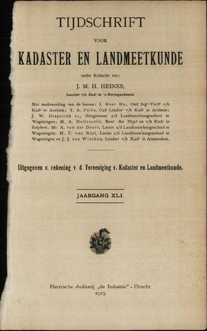 Tijdschrift voor Kadaster en Landmeetkunde (KenL) 1925