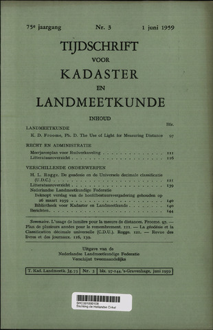 Tijdschrift voor Kadaster en Landmeetkunde (KenL) 1959-06-01