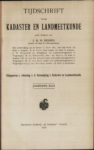 Tijdschrift voor Kadaster en Landmeetkunde (KenL) 1926
