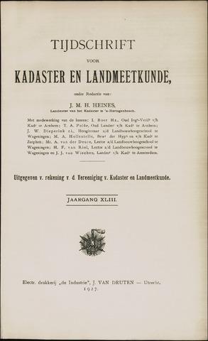 Tijdschrift voor Kadaster en Landmeetkunde (KenL) 1927