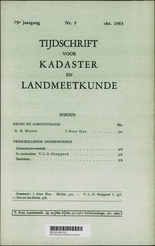 Tijdschrift voor Kadaster en Landmeetkunde (KenL) 1963-10-01