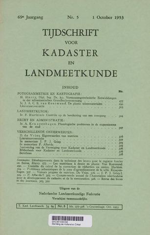 Tijdschrift voor Kadaster en Landmeetkunde (KenL) 1953-10-01