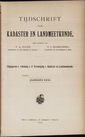 Tijdschrift voor Kadaster en Landmeetkunde (KenL) 1915-01-01