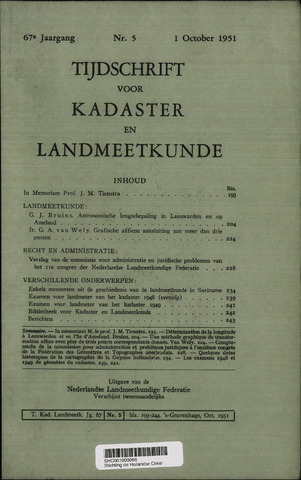 Tijdschrift voor Kadaster en Landmeetkunde (KenL) 1951-10-01