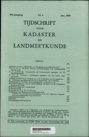 Tijdschrift voor Kadaster en Landmeetkunde (KenL) 1970-12-01