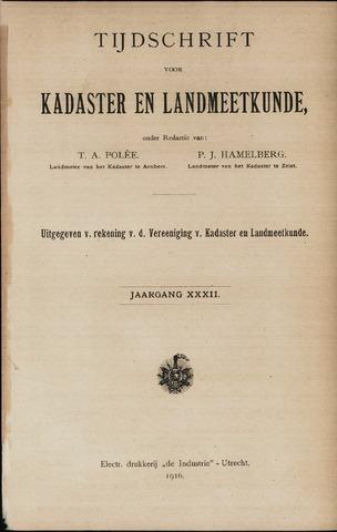 Tijdschrift voor Kadaster en Landmeetkunde (KenL) 1916