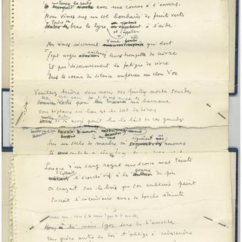 Manuscript van een gedicht 'Hommage à Igor Strawinsky', van de kunstenaar Jean Cocteau, 1957