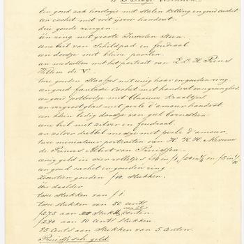 Lijst van kostbare snuisterijen in de werkkamer van Willem Frederik in het paleis Noordeinde, ongedateerd