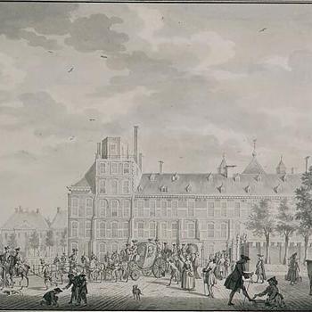 Prins Willem V en de hertog van Brunswijk verlaten het Stadhouderlijk Kwartier, 1765