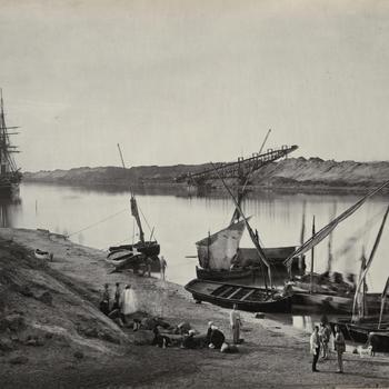Suezkanaal bij El-Qantara, circa 1869