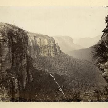Gezicht op de Grose Valley in de Blue Mountains, circa 1870-1878