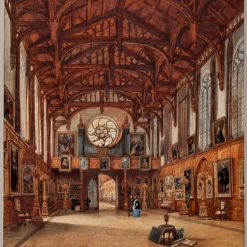 Koning Willem II en koningin Anna Paulowna in de Gotische Zaal, 1842