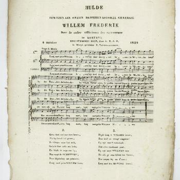 Hulde aan prins Willem bij zijn bezoek aan Kortrijk op 4 oktober 1829