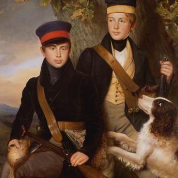 Portret van Willem III en Alexander