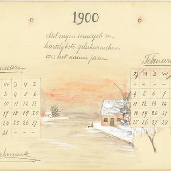 Nieuwjaarswens van koningin Wilhelmina met eigenhandig getekende kalenderdagen en winterlandschap, 1900
