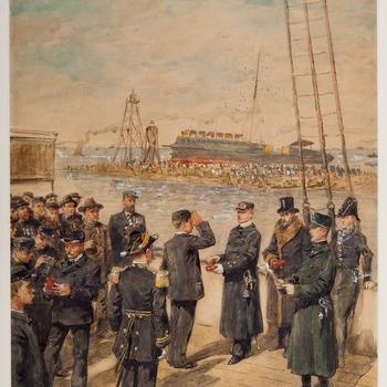 Uitreiking van onderscheidingen aan reddingswerkers stoomschip Berlin