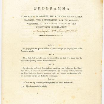 Programma van de ceremonieën ter gelegenheid van de dubbele vergadering van de Staten-Generaal der Verenigde Nederlanden, 8 augustus 1815