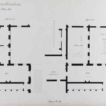 Plattegrond van de bestaande en gewijzigde situatie van de salons Nr 88 en Nr 91