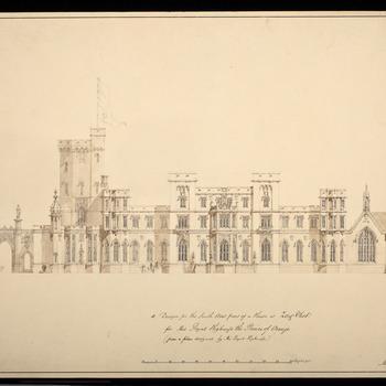 Vooraanzicht van een paleis ontworpen voor Zorgvliet in Den Haag