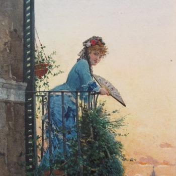 Jonge vrouw op balkon in Rome