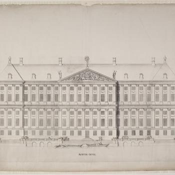 Achtergevel van het stadhuis te Amsterdam, 1650.