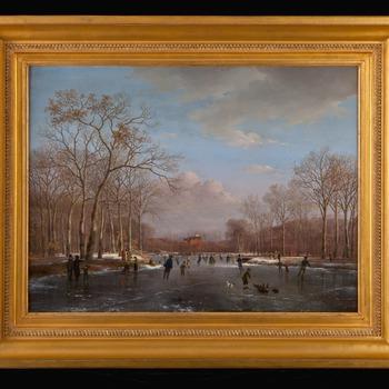 Wintertafereel op de vijver voor Paleis Huis ten Bosch