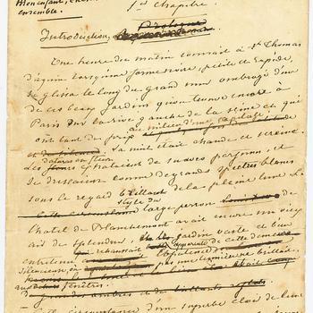 Losbladig manuscript van 'Le meunier d'Angibault' van de schrijfster George Sand, ongedateerd