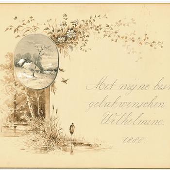 Nieuwjaarskaart van prinses Wilhelmina, 1888