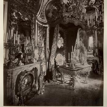 Werkkamer van koning Ludwig II van Beieren in slot Linderhof, ca 1885