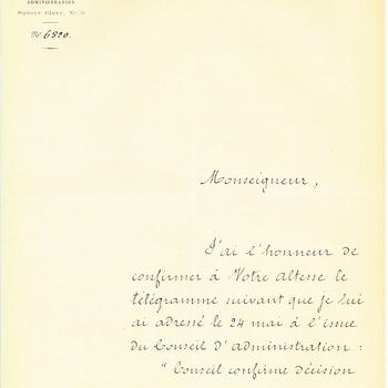 Brief van F. de Lesseps aan prins Hendrik over de aankoop van grond bij het Suezkanaal, 26 mei 1876