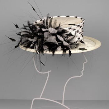 Crème witte hoed met veren