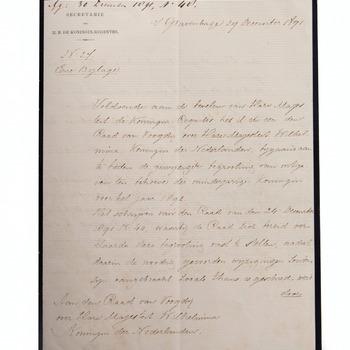 Brief aan de Voogdijraad, 29 december 1891