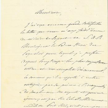 Brief van Ferdinand de Lesseps aan de adjudant van prins Hendrik, 25 november 1875