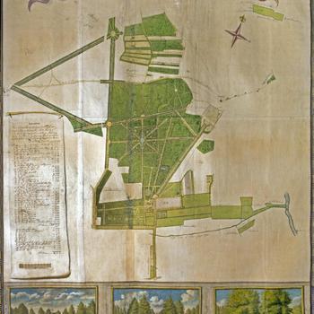 Kaart van de hofstede en landerijen gelegen op landgoed 'De Eult', 1745