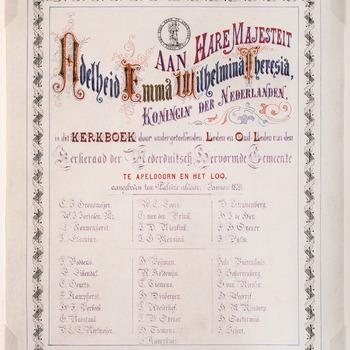 Oorkonde bij de aanbieding van een kerkboek door de kerkenraad van de N.H. Gemeente te Apeldoorn aan koningin Emma, 11 januari 1879