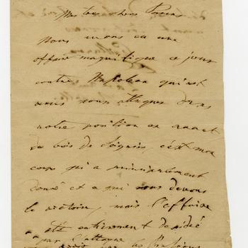 Brief van prins Willem II aan zijn ouders over de overwinning op Napoleon bij Waterloo, 18/19 juni 1815
