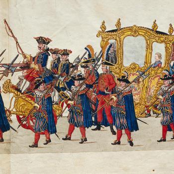 Tegenbezoek van de vierjarige prins Willem V aan de Franse ambassadeur, 20 december 1752