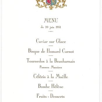 Menukaart van het diner aangeboden aan koningin Juliana en prins Bernhard tijdens het staatsbezoek aan Luxemburg op 20 juni 1951