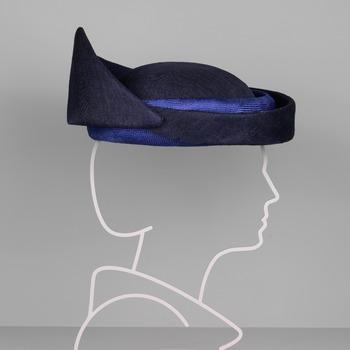 Donkerblauwe hoed met opstaande rand