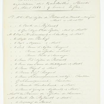 Gastenlijst voor de repetitie van de quadrilles, 1 maart 1862