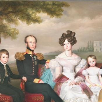 Familieportret van Willem II met zijn gezin