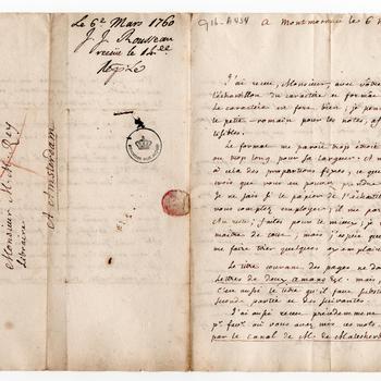 Eigenhandige schets van de filosoof Jean-Jaques Rousseau voor de titelpagina van zijn roman 'Julie, ou La nouvelle Heloïse', 1760