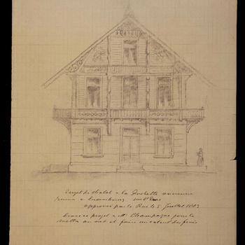 Ontwerptekening van het chalet in Larochette te Luxemburg, 1883