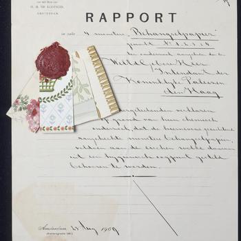 Rapport over het behang voor de kamer van prinses Juliana, 23 augustus 1909