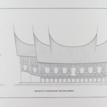 Tekening van een Minangkabaus woonhuis in de Padangsche bovenlanden
