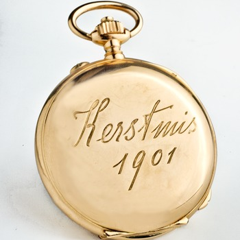 Gouden zakhorloge met op de achterzijde 'Kerstmis 1901'
