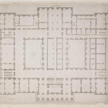 Plattegrond van de begane grond van het stadhuis te Amsterdam, 1650.